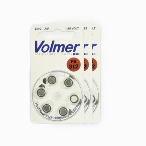 Hörgeräte Batterien Volmer PR 312 3x6 Stück